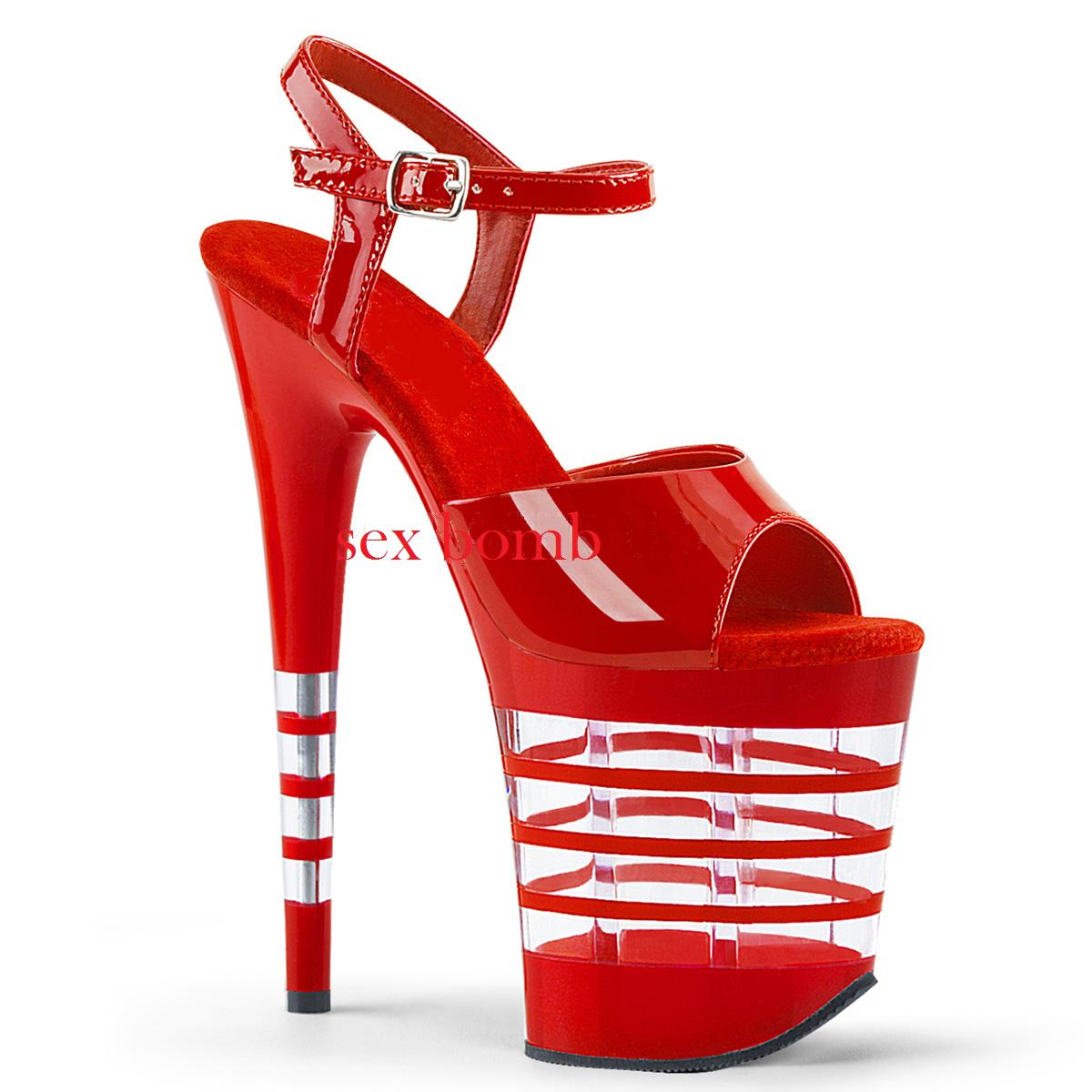 Sexy SANDALI tacco 20 dal 35 al 40 rouge plateau cinturino chaussures GLAMOUR Club