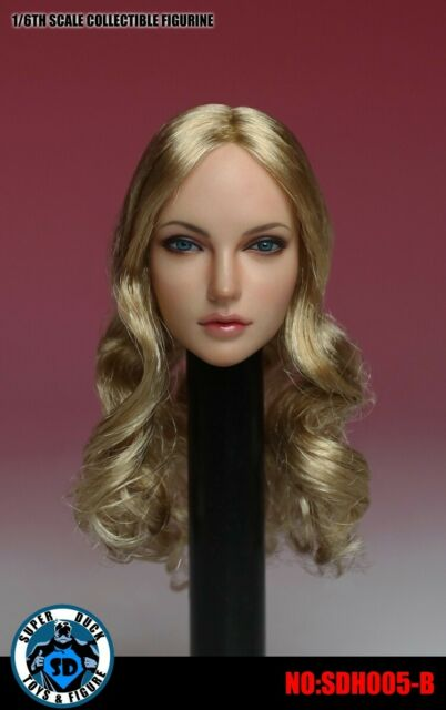 "1//6 Black Widow Female Head Carving W Short Blonde Hair Fit 12/"" Figure US Sell"