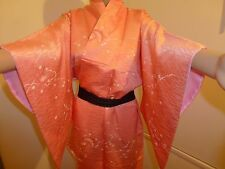 Authentic Japanese silk kimono for women, pink/cranes pattern (J567)