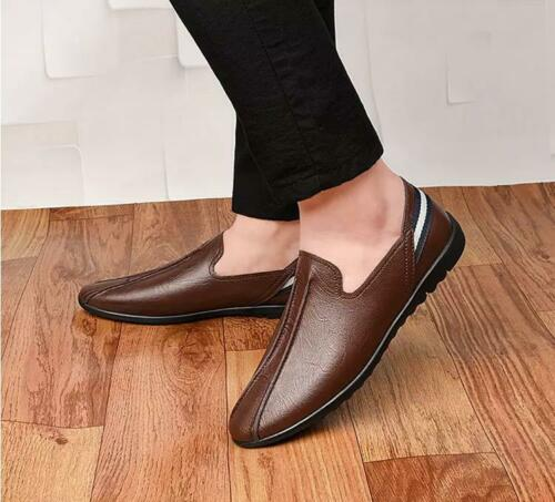 Mens Casual Cow Leather Oxford Loafers Driving Moccasins Shoes Slip-On Flats