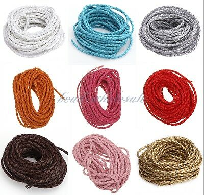 5/100m Black Man-made Leather Braid Rope Hemp Cord For Necklace Bracelet 3mm