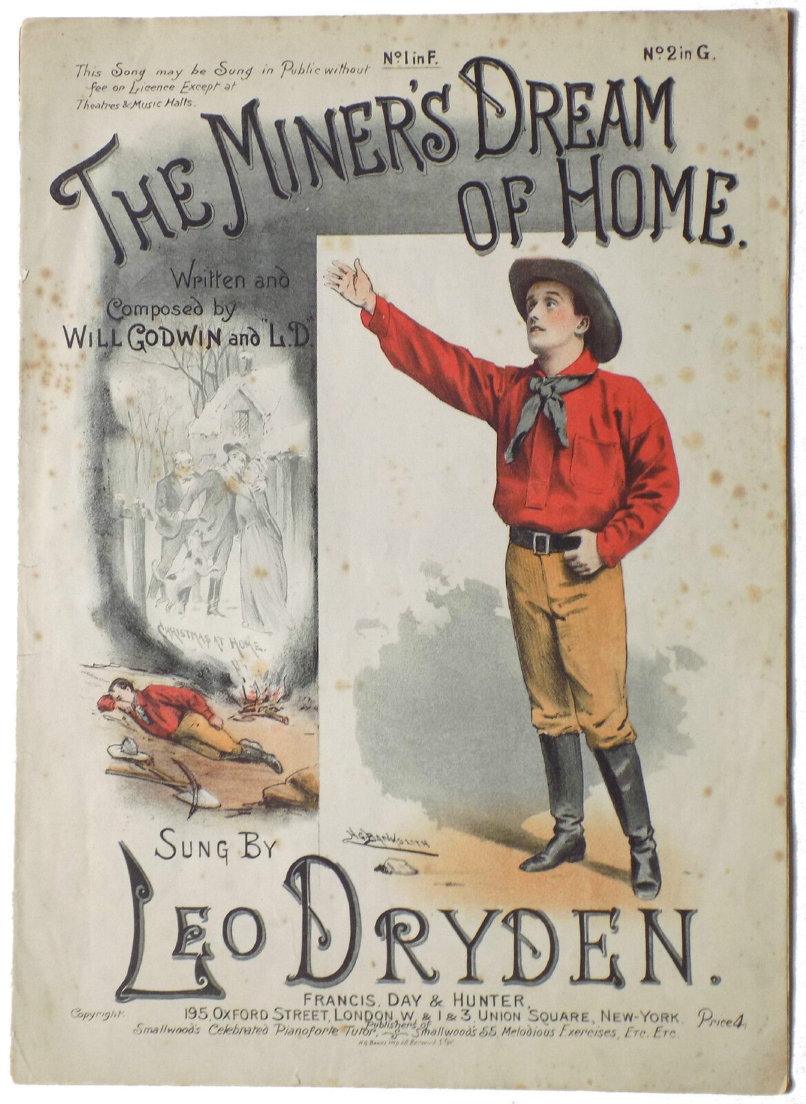 The Miner's Dream of Home. Sung by Leo Dryden. Original sheet music.