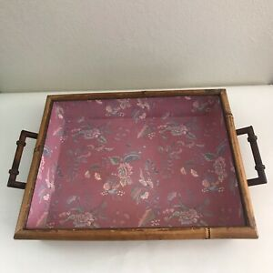 Tracy Porter Rectangle Tray With Handles Bamboo Faux Leather Trim Paper Lined