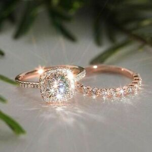 ROSE GOLD FILLED DOUBLE RING SET WITH A SQUARE WHITE CUT TOPAZ SIZE L 1/2