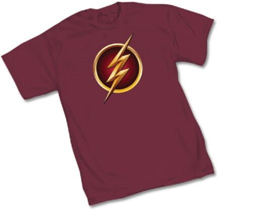 DC FLASH TV SHOW SYMBOL Logo WOMEN/'S BURGUNDY Licensed T-Shirt S-XL