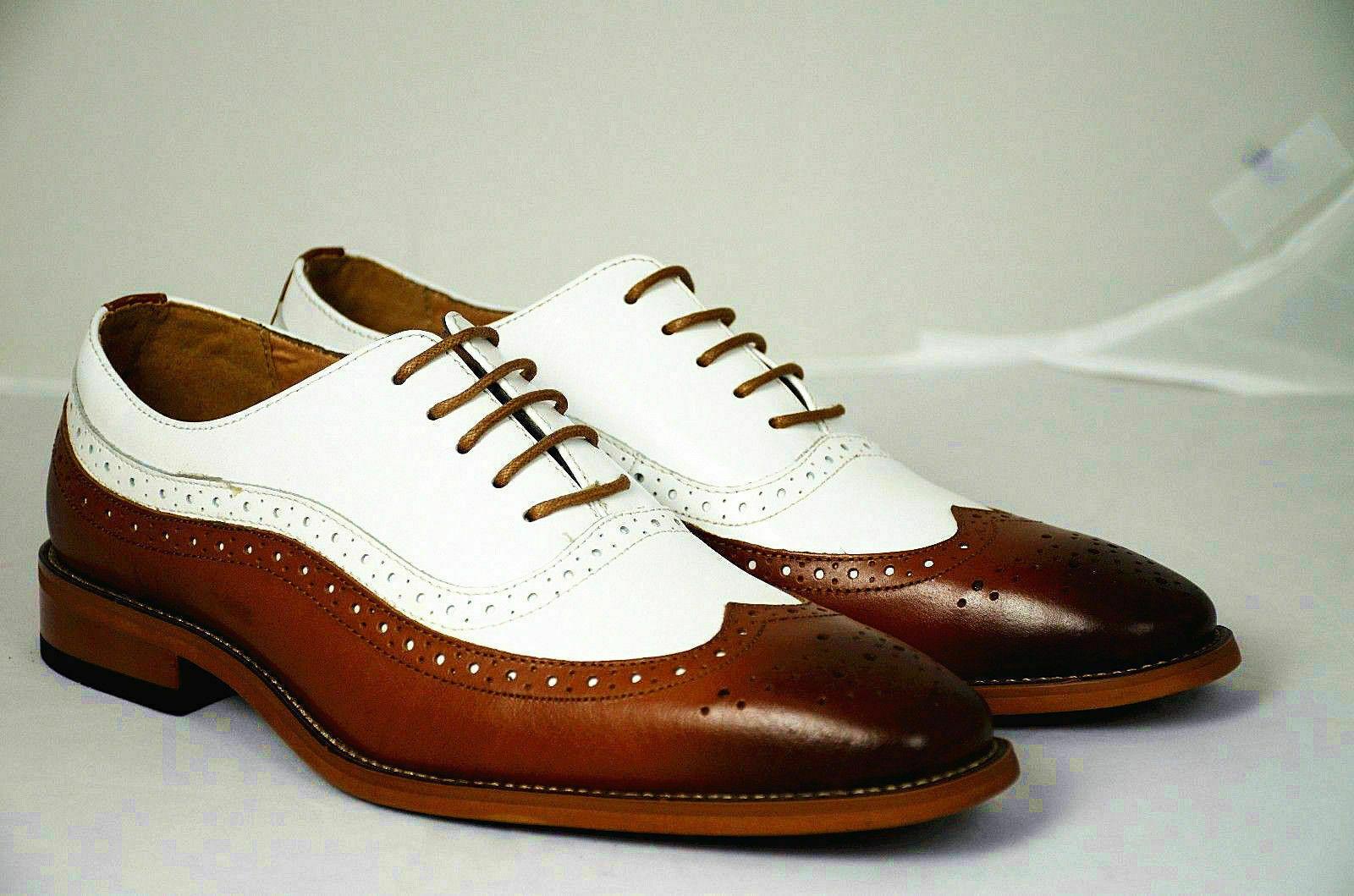 Hecho a mano para hombres Cuero Genuino blancoo Y Oscuro Bronceado Zapatos Oxford Brogue formal
