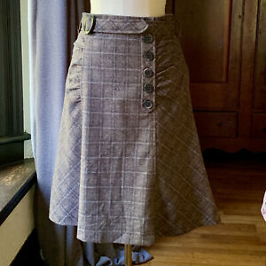 NANETTE LEPORE Wool A-Line Skirt Pleated Brown 8