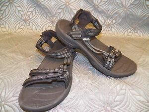 New Womens Teva Fi Lite Double Zipper Black Strappy Beach Camping Sandals