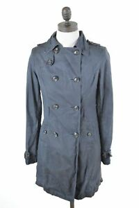JACK-WILLS-Womens-Double-Brested-Coat-Size-8-Small-Blue-Cotton