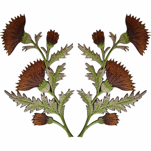 Pair of Brown Thistle Flower Patches Iron Sew On Embroidered Patch Badge Flowers