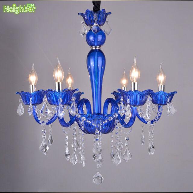 Modern Crystal Pendant Lights Blue Chandelier Lighting Fixture Candle Lamp Pl617