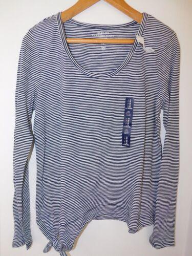 NWT GAP Women/'s Lightweight LS Easy T-Shirt Side Tie Blue Striped X-Small New