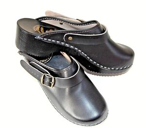 Men's Leather Clogs Wood Sole Comfortable Flip Flop Shoes Adjust Strap Slip-on.