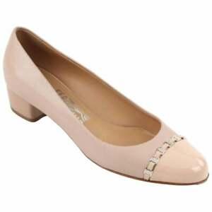 "Details about FERRAGAMO SALVATORE ""Pim"" Nude Patent Leather Silver Chain Pump Heel Size 7.5"