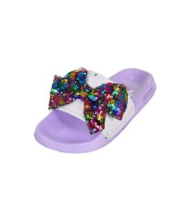 f5e9d58906e7 JoJo Siwa Lilac Purple Rainbow Sequin Bow 🌈 Slides Sandals Shoes ...