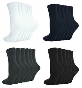 6 Pairs Unisex Boys Girls School Plain Short Ankle Cotton Socks Black Navy Grey White