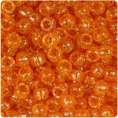 100 x Orange Sparkle 9x6mm Barrel Shape Pony Highest Quality Beads