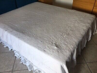 Copriletto Matrimoniale Antico Bianco Piquet Uncinetto Ebay