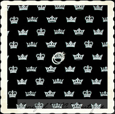 BonEful Fabric FQ Cotton Quilt Baby Unisex Prince Princess CROWN B&W Black White