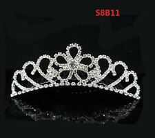 Rhinestone Tiara Crown Princess Flower Girl Children Birthday Wedding Comb S8B11