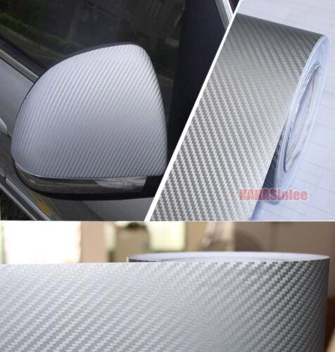 4inch Wide Silver Car 3D Texture Carbon Fiber Vinyl Tape Wrap Film Sticker AB