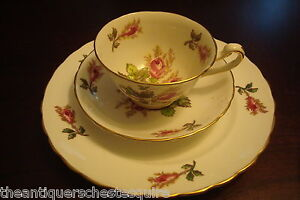 TRIO-Royal-Chelsea-Moss-Rose-cup-saucer-and-cake-plate-35