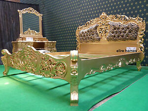 f1b6f10081 UK King size Baroque French style designer Rococo Bed with leopard ...