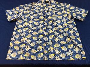 Royal-Creations-Mens-XXL-2XL-Blue-Tropical-Fish-And-Turtles-Hawaiian-Shirt-EUC
