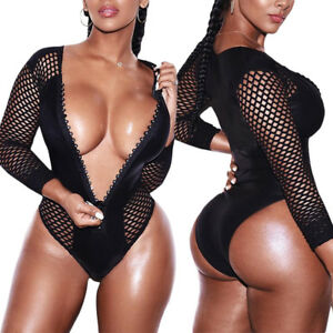 076d864d7c Sexy Women Mesh Fishnet Zipper Bodysuit Long Sleeve Leotard Jumpsuit ...