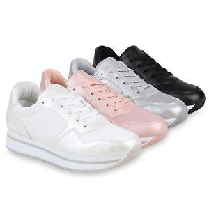 Damen Plateau Sneaker Glitzer Turnschuhe Metallic Freizeit Schuhe 821775 Top