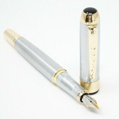 UK SOLD! FINE Nib Chrome Trim Jinhao X250 Blue Lacquered Finish Fountain Pen