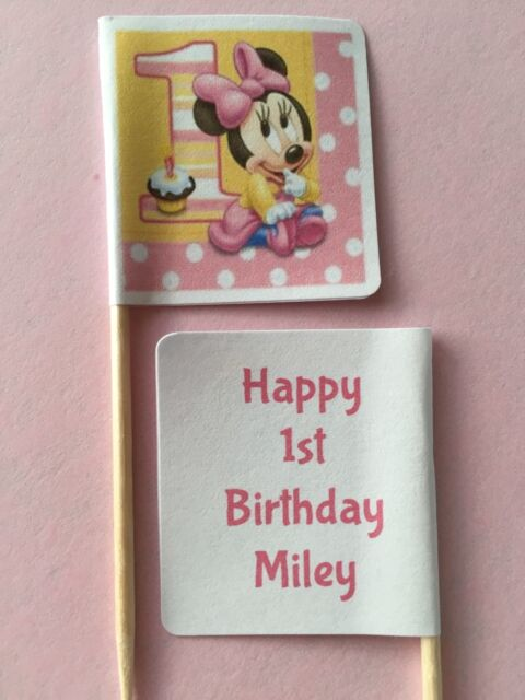 24x PERSONALISED BABY MINNIE MOUSE 1st BIRTHDAY CUPCAKE TOPPERS/PICKS/FLAGS