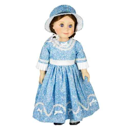 18 In Doll Clothes Accessories, 1800s Blue Sunday Dress & Hat Fits American Girl