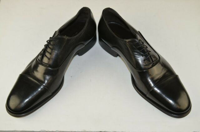 New Bruno Magli Men's Cap Toe Oxfords Sz 9.5 Black Leather Italy Lace Up Career