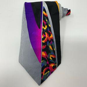 Vitaliano-Pancaldi-Necktie-Italian-Silk-Tie-Bright-Colorful-Neon-Leopard-Print