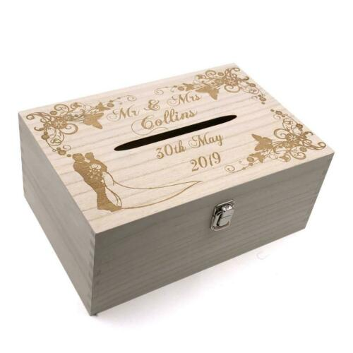 Personalised Wedding Wooden Post Box with Slot Cards Drop in Memory Box HB-85