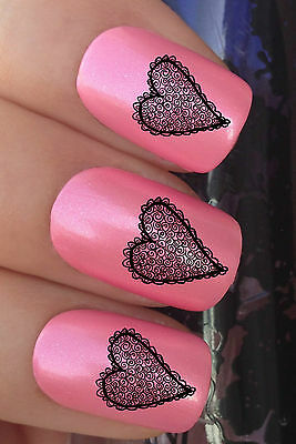 NAIL ART #305 x24 LACE LOVE HEARTS VALENTINES DAY WATER TRANSFER DECALS STICKERS