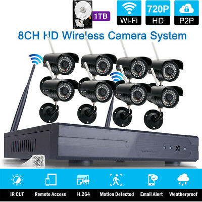 Wireless 8CH NVR Outdoor IR-CUT Wifi Camera Home Security System+ 1TB Hard Disk