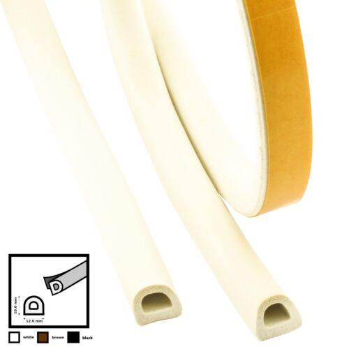 5m D 12mm X 10mm Blanc Joint de la Porte Joint de Fenêtre Autoadhésif EPDM
