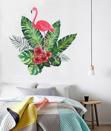 3D Flamingo Green Plant 5 Wallpaper Murals Floor Wall Print Decal Wall Sticker