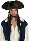 Jack Sparrow Adults Pirate Hat with Beaded Braids Wig