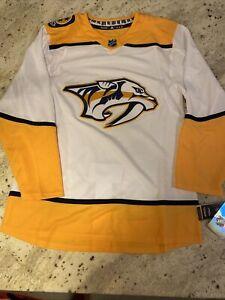 Nashville Predators Adidas Authentic Pro Away Hockey Jersey 100% Authentic Sz 60