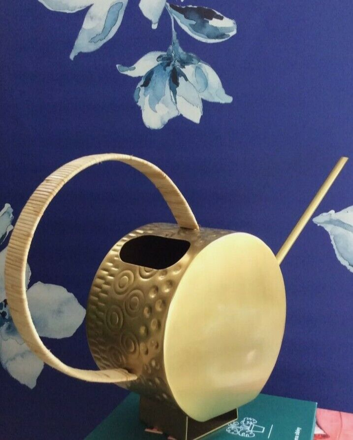 Anthropologie- Mid century Lena watering can gold brass rattan embossed Insta