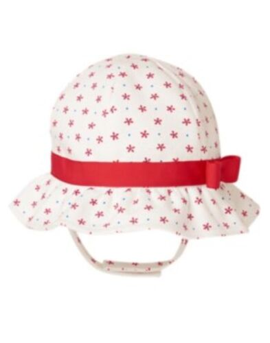 GYMBOREE STAR SPANGLED SUMMER WHITE w// RED BOW N STARS BUCKET HAT 0 3 6 12 18 24