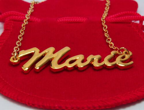 """Plaqué or 18k Collier Prénom /""""MARIE/""""La Saint Valentin Anniversaire Cadeau"""