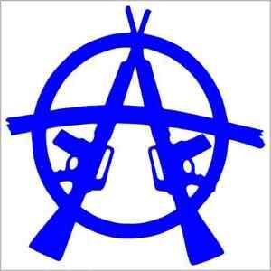 2X White 4 Anarchy Symbol Decal Sticker Car Vinyl Round Die-Cut no Background