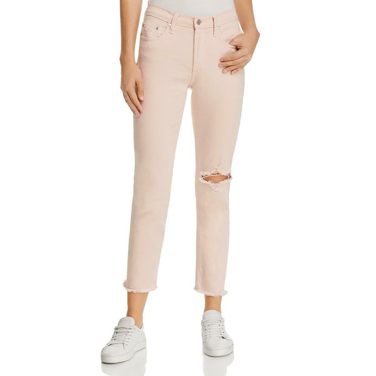 Nobody Womens Pink Fringe Mid-Rise Petals Wash Ankle Jeans 29 BHFO 7299