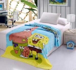 Details about Spongebob happy coral fleece quilt blanket rugs warm soft  carpet 230x200cm big