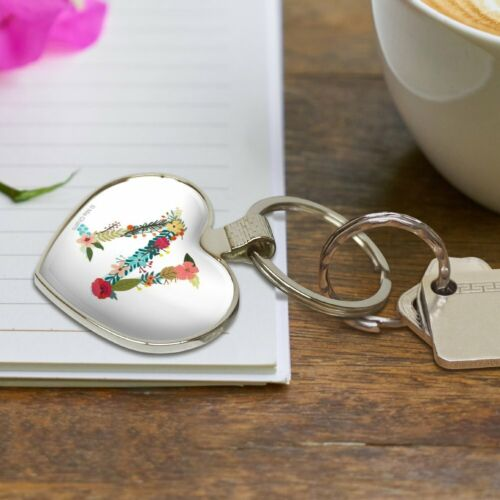 Letter N Floral Monogram Initial Heart Love Metal Keychain Key Chain Ring