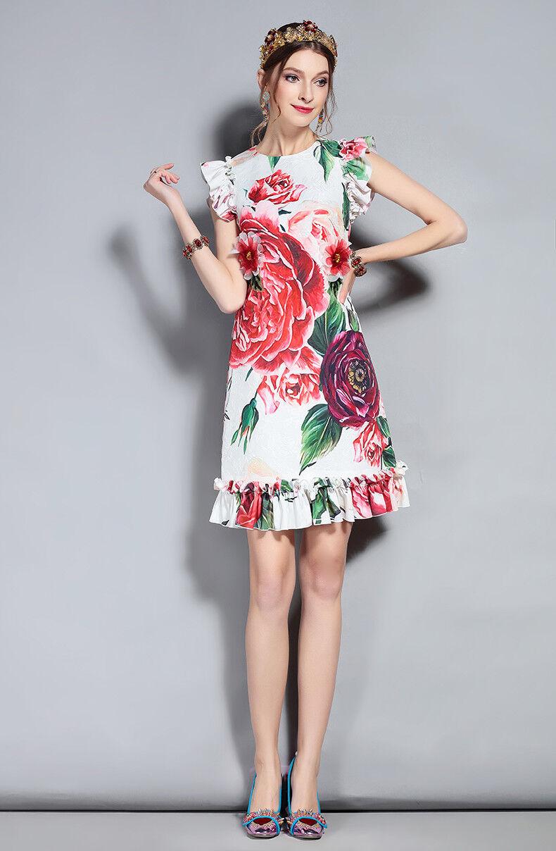 PGM  Designer Inspired Ruffles Peony Floral Printed Appliques Elegant Dress